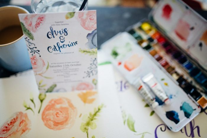 Chris & Catherine- Watercolour Wedding Invitations